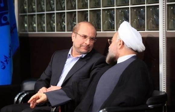 عکس محمدباقر قالیباف و روحانی در رو به روی هم در مناظره سوم