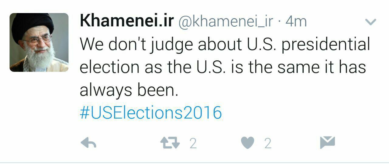واکنش صفحه توییتر رهبر انقلاب به پیروزی ترامپ