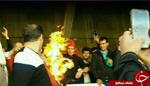 پرچم پرسپولیس را در تبریز آتش زدند+ عکس