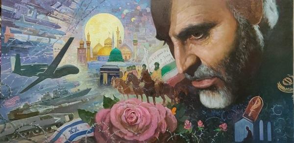 نقاشان معروف روسیه تابلویی با چهره سردار سپهبد  شهید سلیمانی را به تصویر کشید